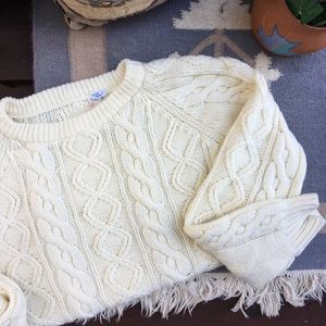 Vintage Cable Knit Chunky Fisherman Sweater